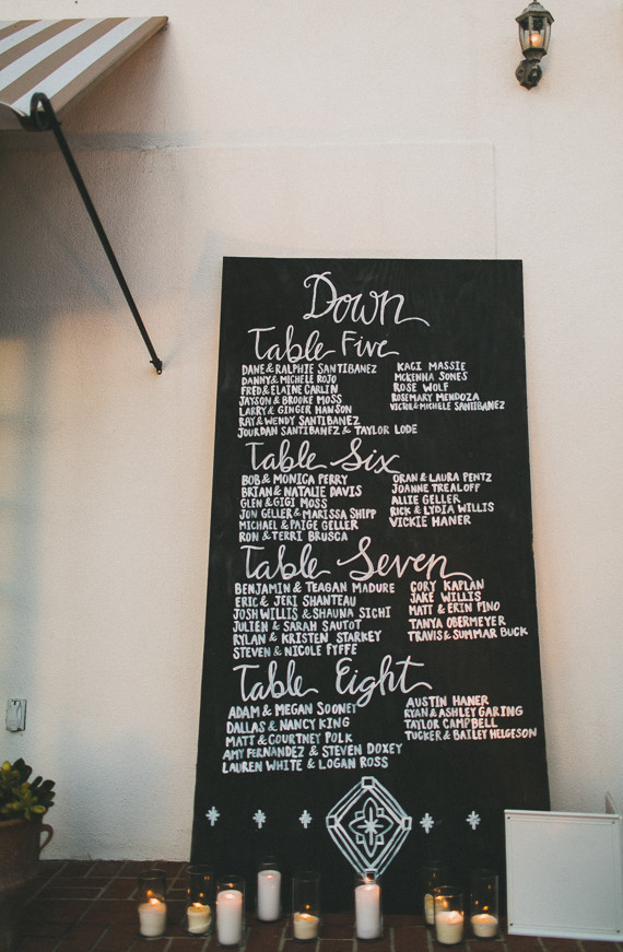 Chalk escort card sign