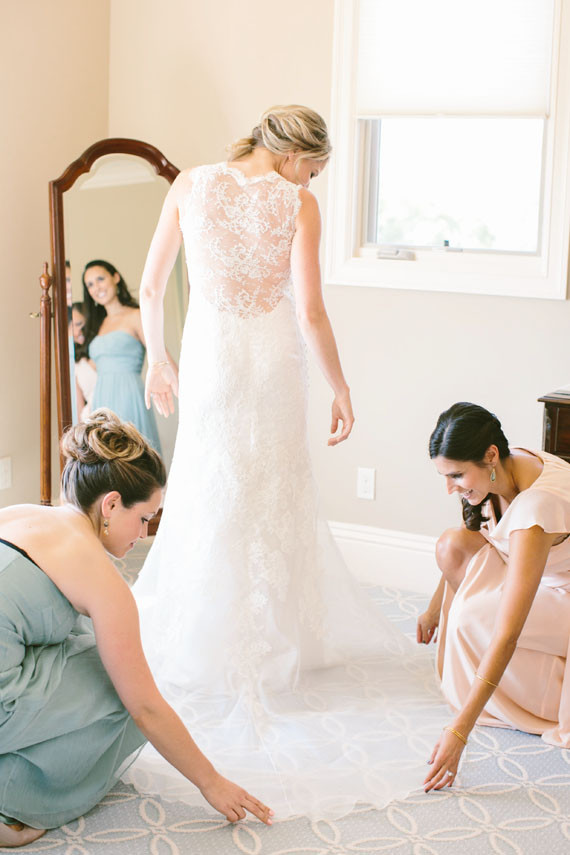 Lace backed wedding dress