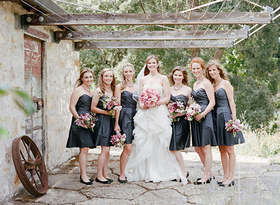 Dark grey bridesmaid dresses