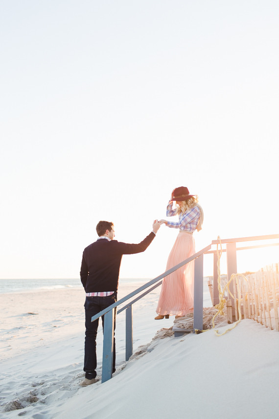 Spring Beach Engagement Beach Proposal 100 Layer Cake