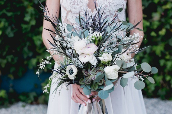 Ranunculus Anemone  and euctalyptus bouquet
