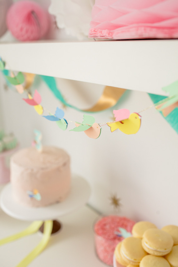 Girls 3rd birthday and bird garland