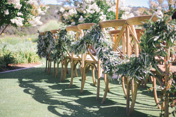 Floral and greenery chair garland