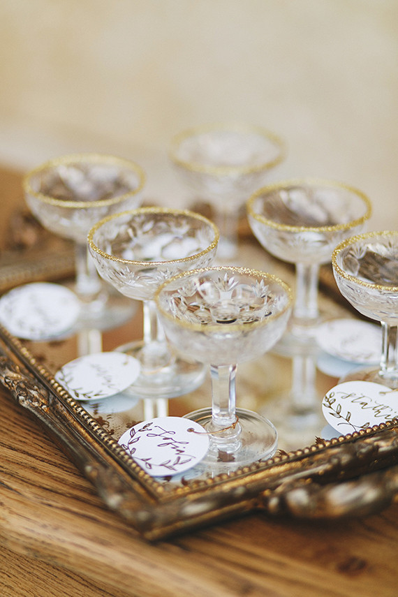 Gold rimmed cocktails