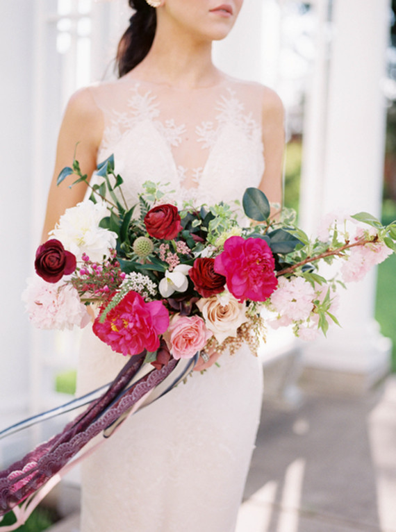 Marsala and pink bridal bouquet