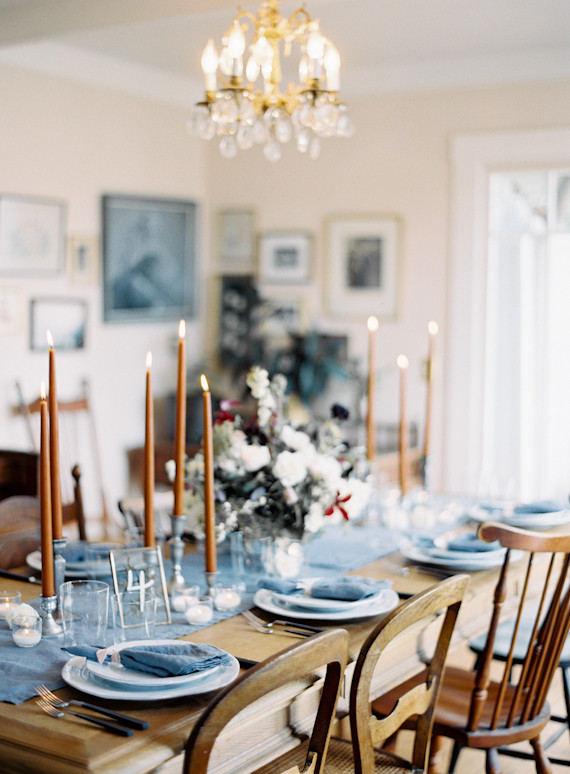 Intimate blue & metallic wedding inspiration