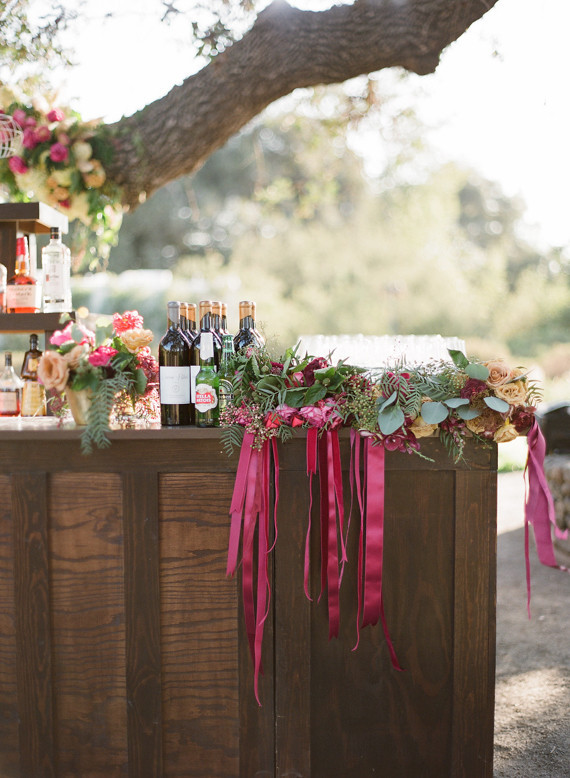 Rustic and romantic vineyard wedding bar