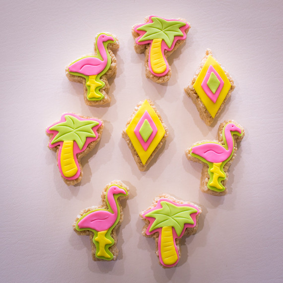 Neon flamingo cookies