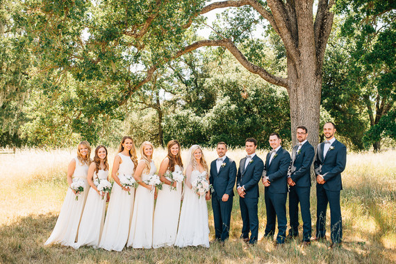 Outdoor wedding party portrait