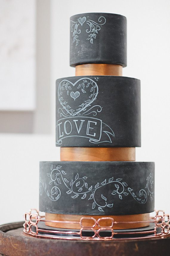 Black 3 tiered wedding cake