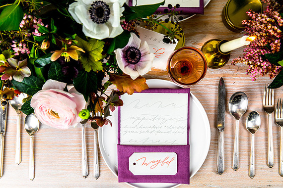 Colorful spring place setting