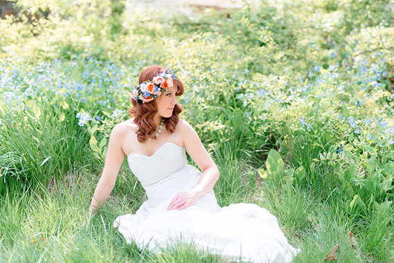 Garden bridal portrait