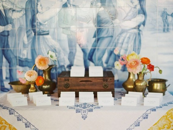 Vintage Spanish inspired escort card table
