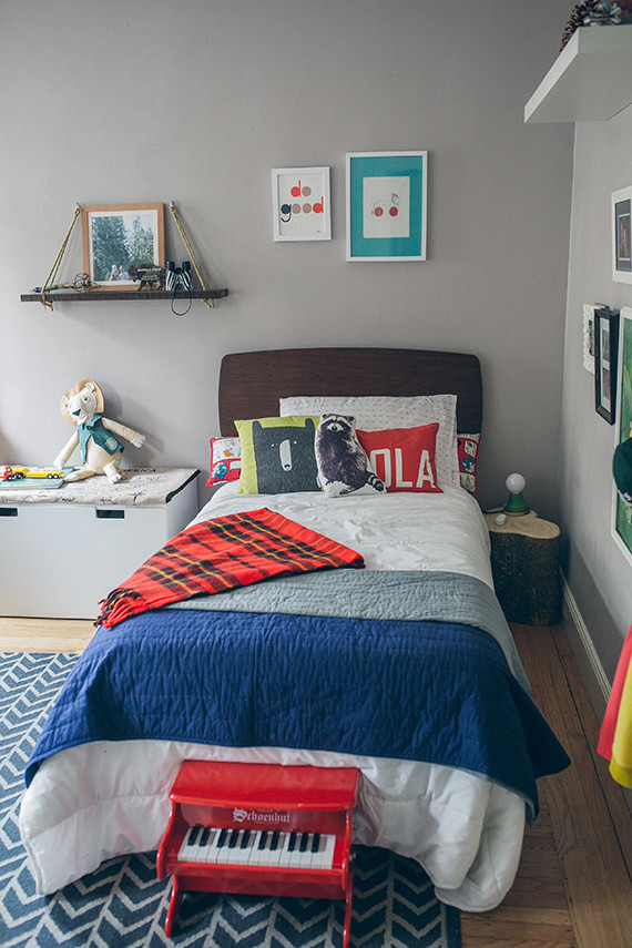 Modern woodsy boys room