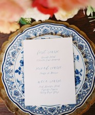 Vintage Spanish inspired wedding menu