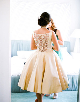 Vintage lace-back wedding dress