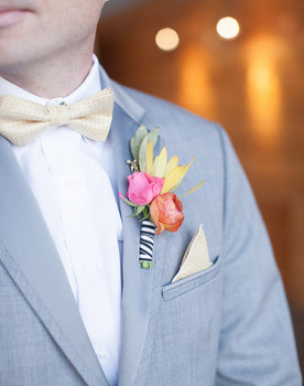Modern Spring Gray Suit and Striped Boutonniere