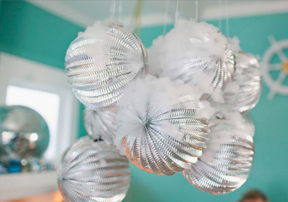 Silver Scalloped Hanging Balls