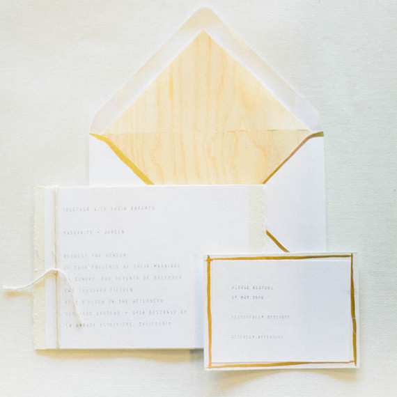 Gold Border Typewritten Invitations