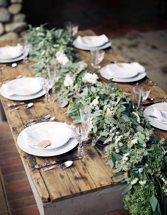 Green Eucalyptus Floral Table Runner