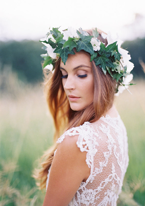 Grecian floral wreath wedding hair
