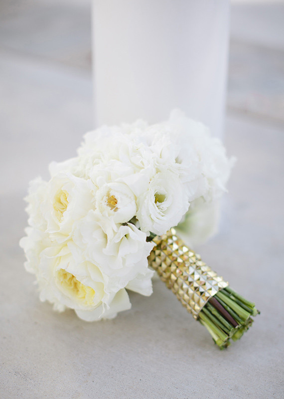 White Rose Bouquet with Gold Studded Holder