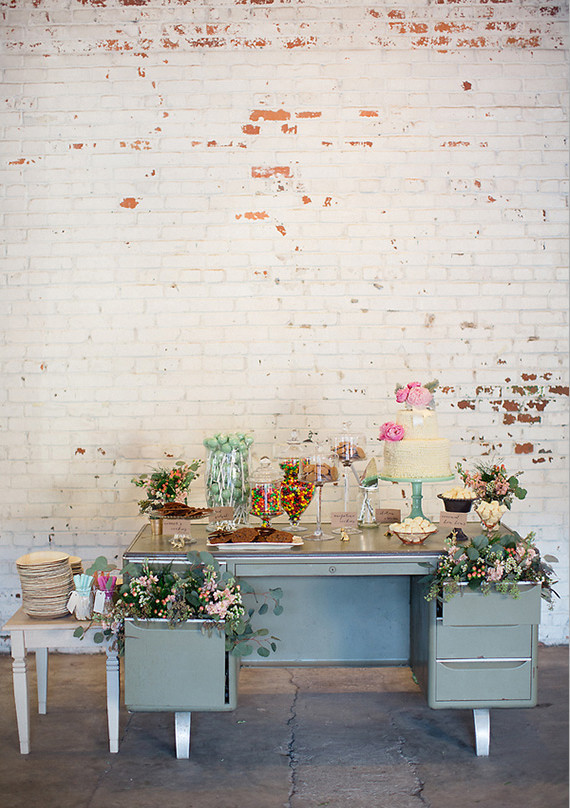 Old School Desk Dessert Table with Drawer Arrangements