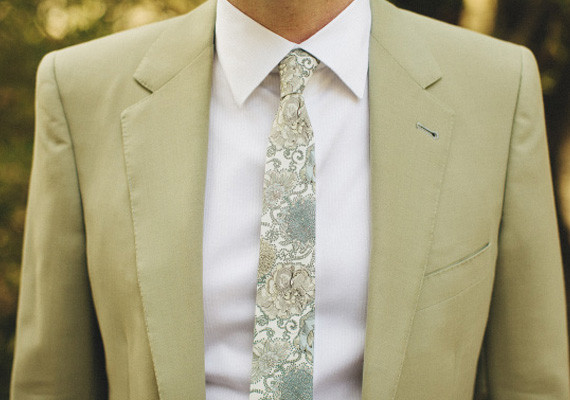 Sage Green Suit with Floral Tie