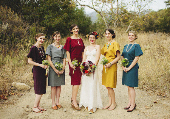 DIY Jewel-tone Sleeved Bridesmaids
