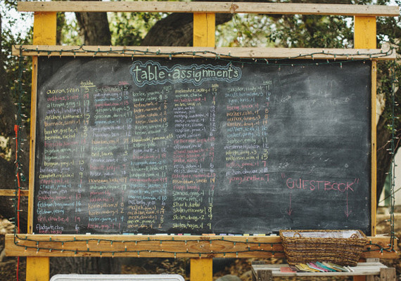 Chalkboard Colored Table Assignments