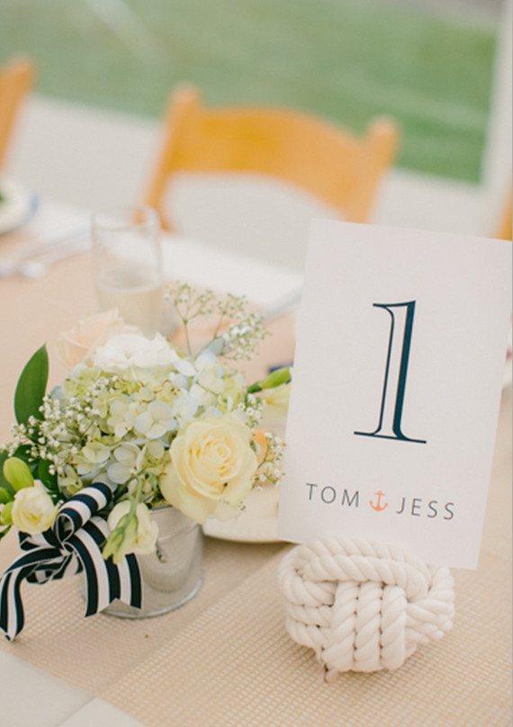 Roped Ball Table Numbers with Striped Ribbon