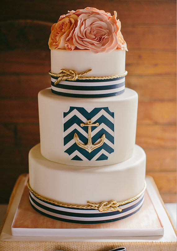 Gold Rope and Navy Striped Nautical Detailed Cake