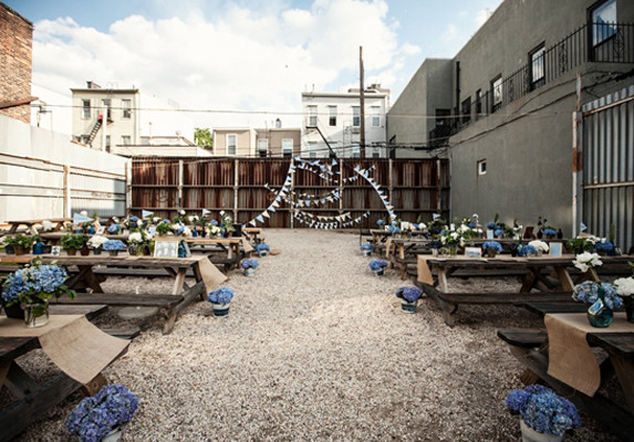 Brooklyn industrial backyard wedding decor
