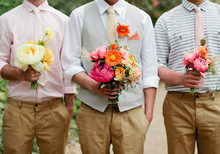 grooms with bouquets