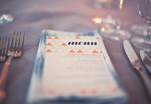 Modern Wedding Blue and orange Menu