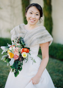Bride with fur shawl