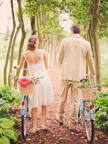 Vintage garden wedding portrait