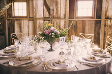 Vintage Carmel Wedding Tablescape