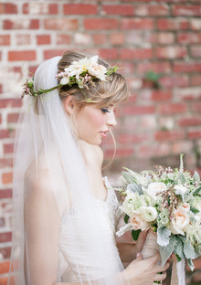 Soft Peach Wedding Hairpiece
