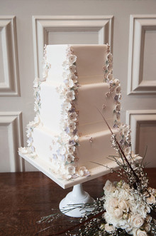 White cake with flower decor