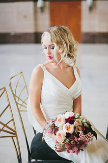 Light pink and maroon bouquet