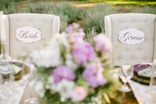 Bride and Groom chair signage