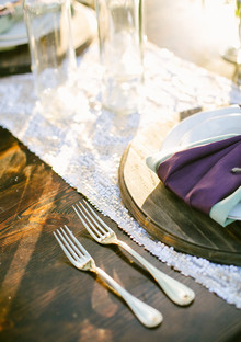 Lavender farm wedding inspiration gold flatware
