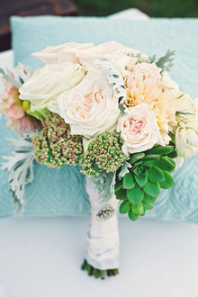 White rose bouquet with succulent