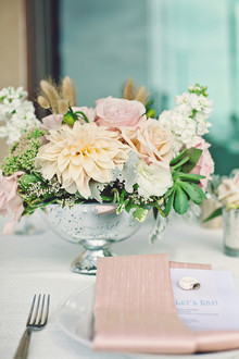 White and pink centerpiece with silver vase