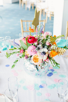 80's pop themed wedding discoball centerpiece