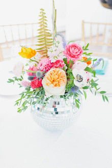 Disco Ball centerpiece with colorful florals