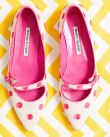 Pink and white polka dot shoes