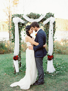Rustic Fall Wedding Ceremony Portrait