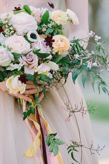 Burgundy anemone and rose bouquet